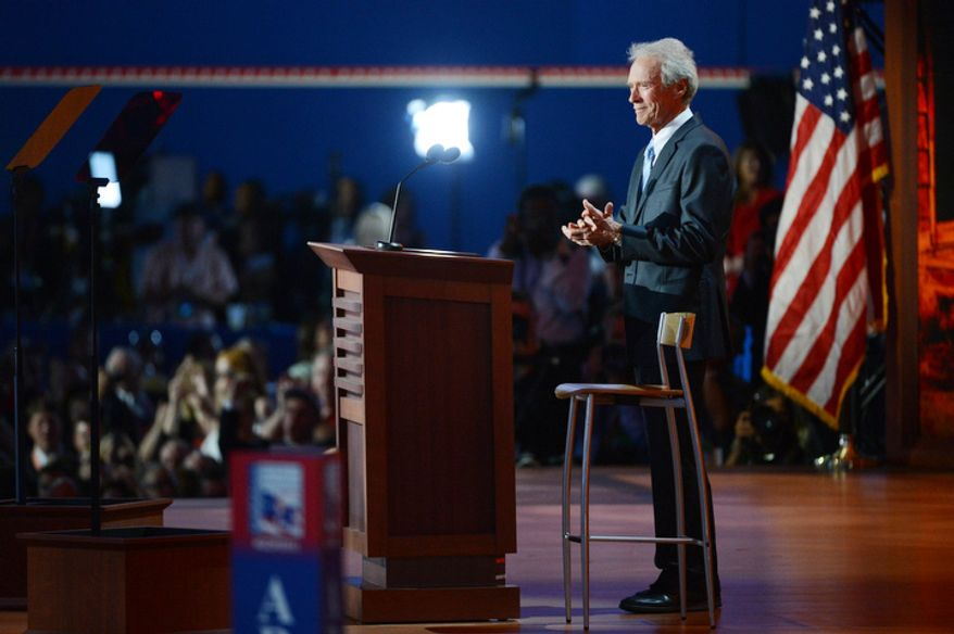 Actor-director Clint Eastwood speaks on behalf of GOP presidential nominee Mitt Romney at the Republican National Convention in Tampa, Fla., on Thursday, Aug. 30, 2012. (Andrew Harnik/The Washington Times)