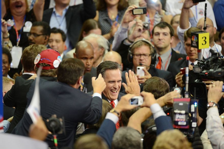 Mitt Romney accepts the nomination of the Republican Party for President of the United States.  (Andrew Harnik/ The Washington Times)