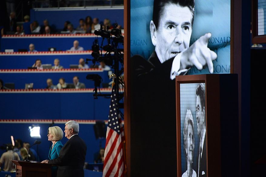 Newt and Callista Gingrich honor Ronald Reagan at the Republican National Convention at the Tampa Bay Times Forum in Tampa, Fla. on Thursday, August 30, 2012. (Andrew Harnik/ The Washington Times)