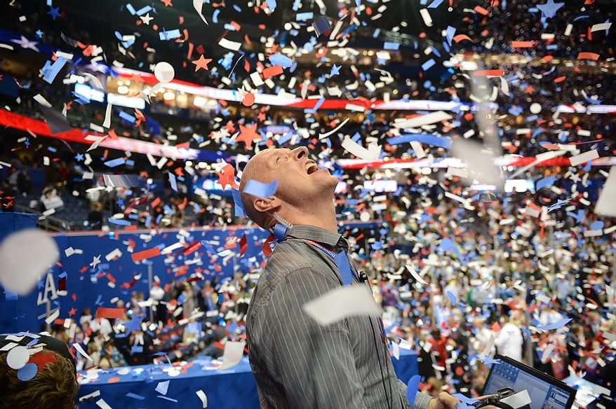 Confetti falls after Mitt Romney accepts the nomination of the Republican Party for President of the United States at the Republican National Convention at the Tampa Bay Times Forum in Tampa, Fla. on Thursday, August 30, 2012. (Andrew Harnik/ The Washington Times)