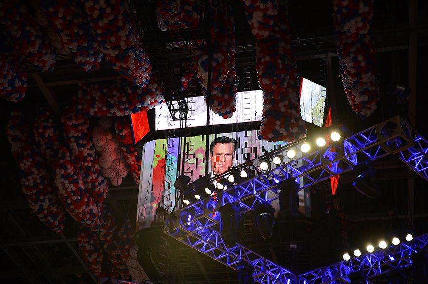 Mitt Romney is seen on the JumboTron screen as he accepts the nomination of the Republican Party for President of the United States at the Republican National Convention at the Tampa Bay Times Forum in Tampa, Fla. on Thursday, August 30, 2012. (Andrew Harnik/ The Washington Times)