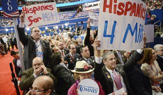 Puerto Rico delegates cheer for former Florida Gov. Jeb Bush at the Republican National Convention at the Tampa Bay Times Forum in Tampa, Fla., on Thursday, Aug. 30, 2012. (Andrew Harnik/The Washington Times)