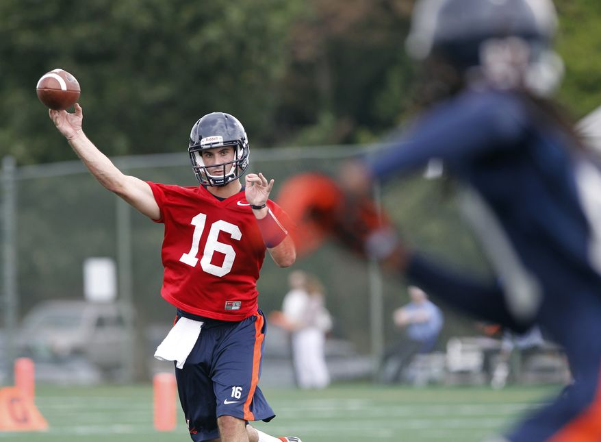 In this Aug. 6, 2012, photo, Virginia quarterback Michael Rocco passes during the NCAA college football team's practice in Charlottesville, Va. (AP Photo/The Daily Progress, Sabrina Schaeffer)