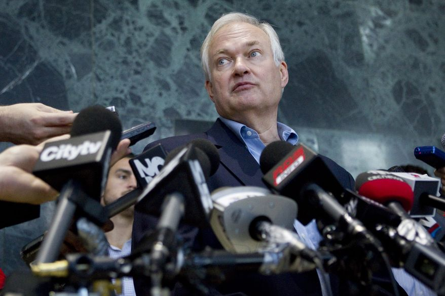 Donald Fehr, executive director of the NHL Players union,  speaks with the media after labor talks in Toronto, Thursday, Aug. 23, 2012.  (AP Photo/The Canadian, Chris Young)