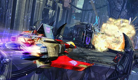 Starscream uses his jet mode in the video game Transformers: Fall of Cybertron.