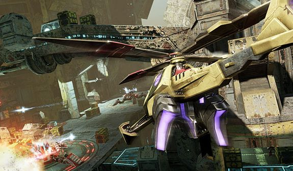 The Decepticon Vortex attacks a bridge in the video game Transformers: Fall of Cybertron.