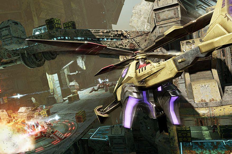 The Decepticon Vortex attacks a bridge in the video game Transformers: Fall of Cybertron.