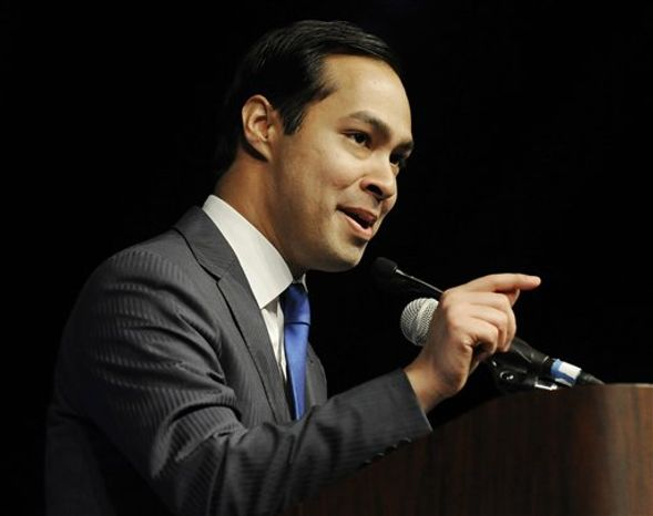 FILE - In a Friday, June 8, 2012, file photo, San Antonio Mayor Julian Castro gives the keynote address at the Texas Democratic Convention in Houston. Marking a first for Hispanics, the Democratic party announced Tuesday, July 31, 2012 that Castro has been chosen to deliver the keynote address at the Democratic National Convention on Sept. 4, 2012, the convention's opening night. (AP Photo/Pat Sullivan, File)