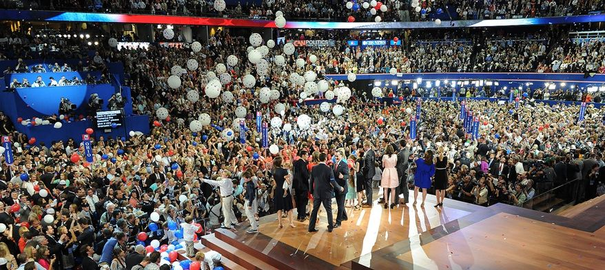Republican presidential nominee Mitt Romney is joined on stage by his running mate, vice-presidential nominee Rep. Paul Ryan, their wives Ann Romney and Janna Ryan and families after Mr. Romney accepted the nomination of the Republican Party for president of the United States at the Republican National Convention at the Tampa Bay Times Forum in Tampa, Fla., on Thursday, Aug. 30, 2012. (J.M. Eddins Jr./The Washington Times)