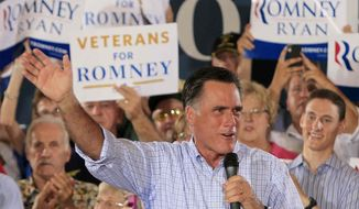 Republican presidential candidate, former Massachusetts Gov. Mitt Romney speaks during a victory rally, Saturday, Sept. 1, 2012, at Union Terminal in Cincinnati. (AP Photo/Al Behrman)
