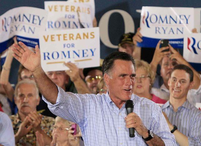 Republican presidential candidate, former Massachusetts Gov. Mitt Romney speaks during a victory rally, Saturday, Sept. 1, 2012, at Union Terminal in Cincinnati. (AP Photo/Al Behrman)