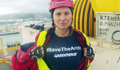 """Actress Lucy Lawless joined other activists in stopping a Shell-contracted drill ship from departing the port of Taranaki in New Zealand. Miss Lawless was arrested on trespassing charges to which she pleaded guilty, but said she had """"no regrets."""" (Associated Press)"""