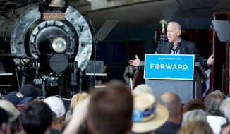 Vice President Joseph R. Biden delivers a speech at the National Railroad Museum in Green Bay, Wis., on Sunday. (Associated Press)