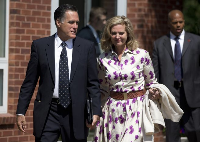 Republican presidential candidate Mitt Romney and his wife, Ann, leave the Church of Jesus Christ of Latter-day Saints after services on Sunday, Sept. 2, 2012, in Wolfeboro, N.H. (AP Photo/Evan Vucci)