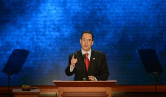 Reince Priebus, chairman of the Republican National Committee, addresses the delegates at the Republican National Convention at the Tampa Bay Times Forum in Tampa, Fla., on Tuesday, Aug. 28, 2012. (Rod Lamkey Jr./ The Washington Times)