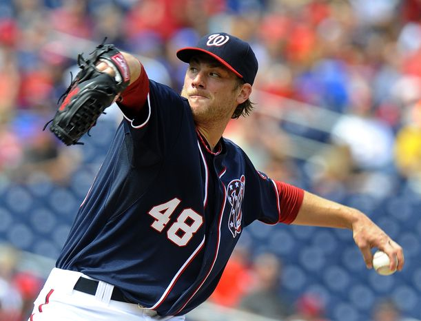 Washington Nationals starting pitcher Ross Detwiler delivers during their baseball game against the Chicago Cubs at Nationals Park, Monday, Sept. 3, 2012, in Washington. The Nationals won 2-1. (AP Photo/Richard Lipski)