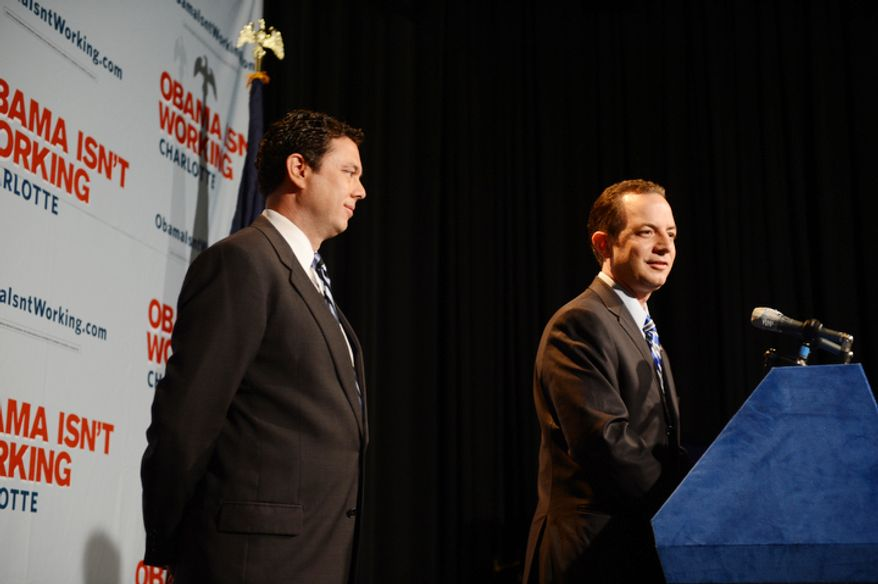 Republican National Committee Chairman Reince Priebus and Rep. Jason Chaffetz, R-Utah, hold a press conference at the NASCAR Hall of Fame where the Republicans will respond to Democrat press conferences and other events at the Democratic National Convention in Charlotte, N.C., on Monday, September 3, 2012. (Barbara Salisbury/ The Washington Times)