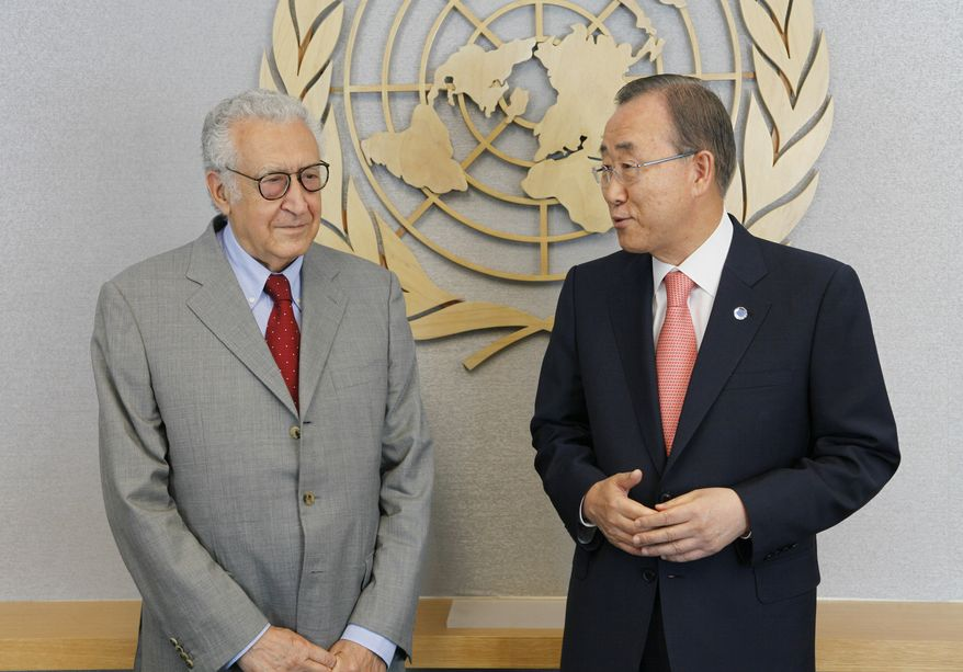 ** FILE ** U.N. Secretary-General Ban Ki-moon (right) meets with Lakhdar Brahimi, the newly appointed joint special representative of the United Nations and the League of Arab States for Syria, at United Nations headquarters on Friday, Aug. 24, 2012. (AP Photo/David Karp)