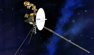 Voyager 1 hurtles toward the outer limits of the solar system, 11 million miles from its launch pad, and still is sending information back to Earth. (NASA via Associated Press)