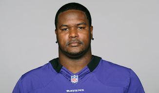 This is a 2012 photo of Bryant McKinnie of the Baltimore Ravens NFL football team. This image reflects the Baltimore Ravens active roster as of Thursday, May 10, 2012 when this image was taken. (AP Photo)