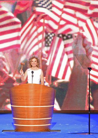 Rep. Debbie Wasserman Schultz, D- Fla., Chair of the Democratic National Committee gavels in the Democratic National Convention at the Time Warner Arena in Charlotte, N.C., on Tuesday, September 4, 2012. (Andrew Geraci/ The Washington Times)