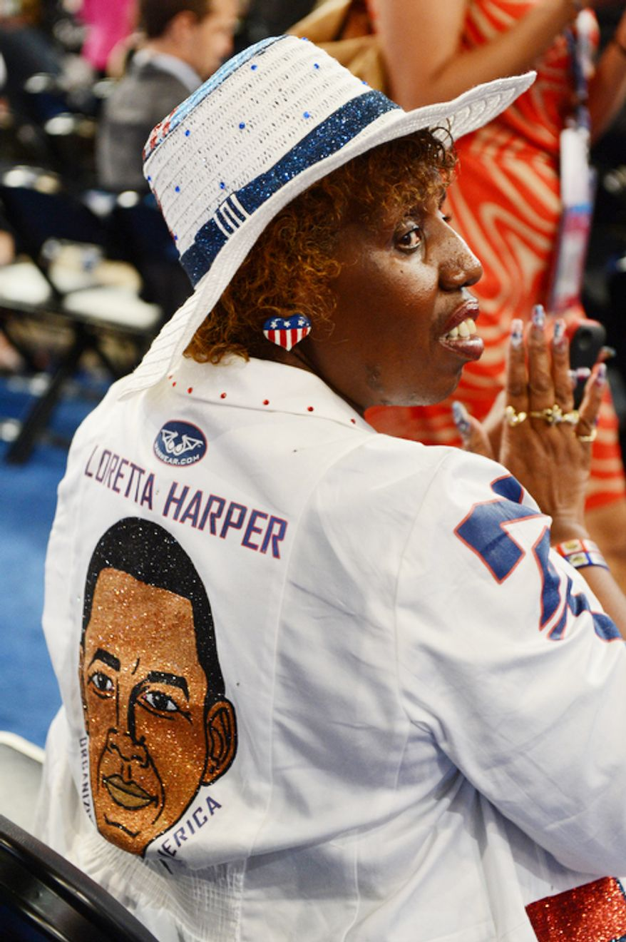 Nevada delegate and National co-chair of the Re-elect Obama campaign, Loretta Harper, listens to speeches at the Democratic National Convention. (Barbara Salisbury/ The Washington Times)