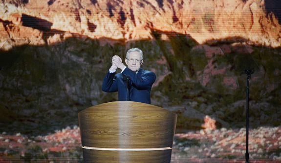 Sen. Harry Reid, D-Nev.,Democratic Majority Leader, addresses the Democratic National Convention. (Andrew Geraci/ The Washington Times)