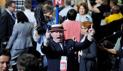 Washington delegate Karl de Jong, of Seattle, Wash., gets loud at the Democratic National Convention2. (Barbara Salisbury/ The Washington Times)