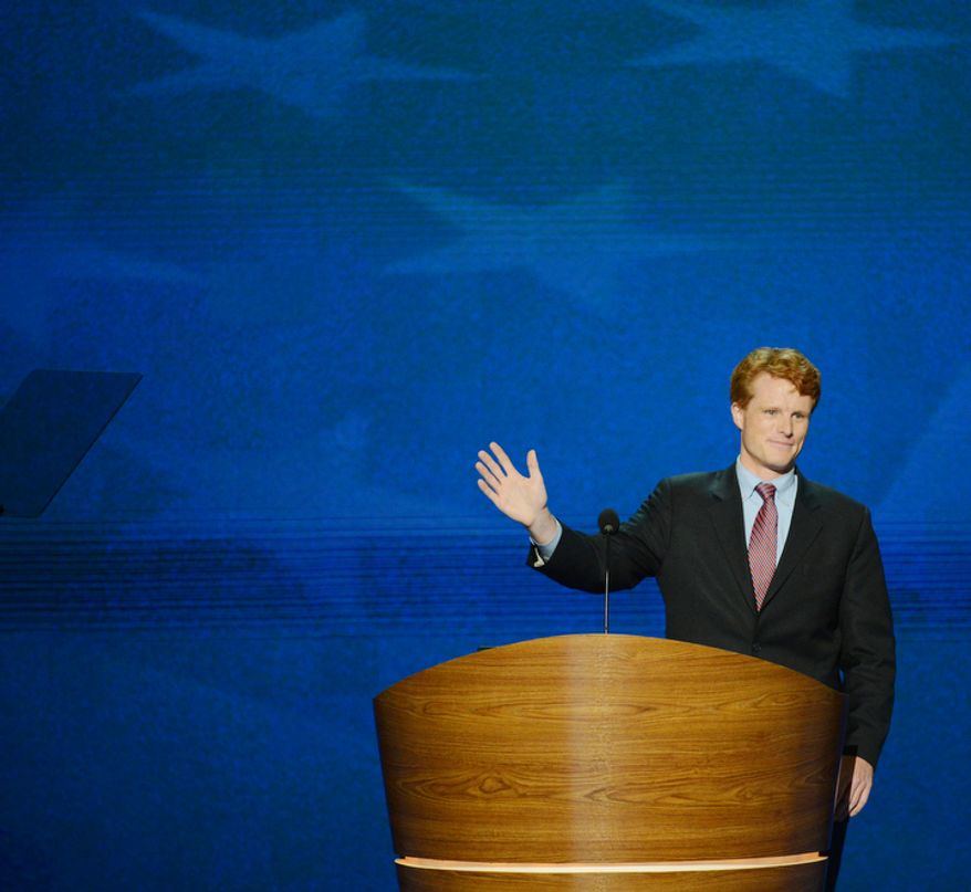 Joe Kennedy III, candidate for the US House of Representatives from Massachusetts addresses the Democratic National Convention at the Time Warner Arena. (Andrew Geraci/ The Washington Times)