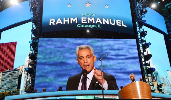 Rahm Emanuel, Mayor of Chicago, Ill. addresses the Democratic National Convention.  (Barbara Salisbury/ The Washington Times)