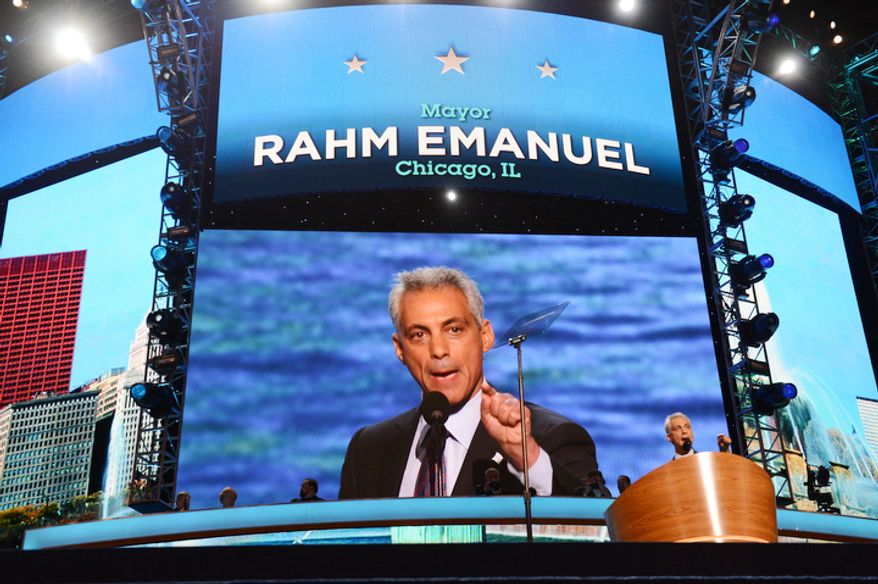 Rahm Emanuel, Mayor of Chicago, Ill. addresses the Democratic National Convention.  (Barbara Salisbury/ The Washington Times)