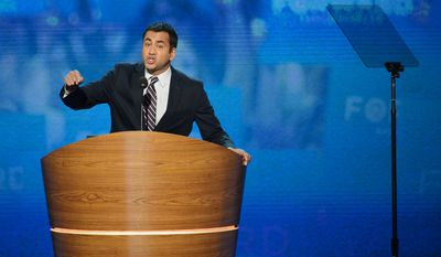 Kal Penn, actor/producer and former Associate Director of the White House Office of Public Engagement addresses the Democratic National Convention. (Andrew Geraci/ The Washington Times)