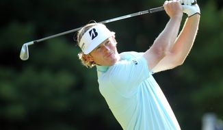 Brandt Snedeker hits off the 11th tee during the first round of the Deutsche Bank Championship golf tournament at TPC Boston in Norton, Mass., Friday, Aug. 31, 2012. (AP Photo/Stew Milne)