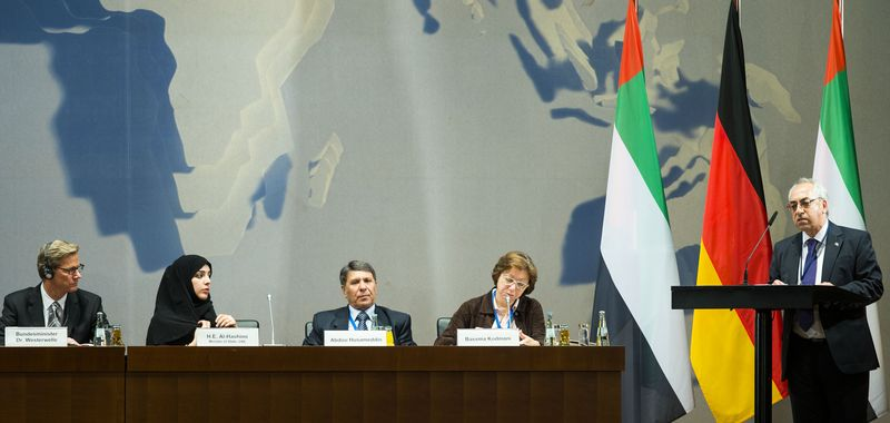 German Foreign Minister Guido Westerwelle (from left); Reem al-Hashimi, minister of state of the United Arab Emirates; former Syrian Vice Oil Minister Abdo Hussameddin; and Bassma Kodmani of the Syrian Business Forum listen to Abdulbaset Sieda, president of the Syrian National Council, at a gathering of Syrian opposition representatives and diplomats at the Germany Foreign Ministry in Berlin on Tuesday, Sept. 4, 2012. (AP Photo/Markus Schreiber)