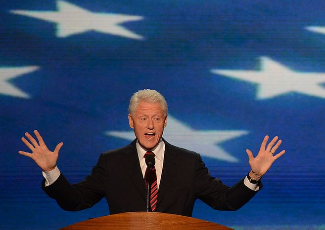 Former President Bill Clinton addresses the Democratic National Convention at the Time Warner Cable Arena in Charlotte, N.C., on Wednesday, Sept. 5, 2012. (Andrew Geraci/The Washington Times)