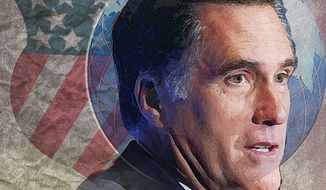 Illustration Mitt Romney by Alexander Hunter for The Washington Times