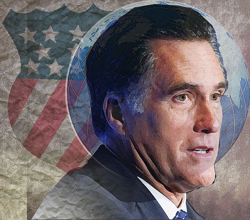 Illustration Mitt Romney by Alexander Hunter for The Washington Times