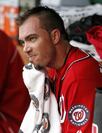 Washington Nationals reliever Sean Burnett isn't expected to test his sore left elbow with throwing off a mound until the weekend. (Associated Press)