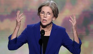 Elizabeth Warren, Massachusetts Senate candidate, addresses the Democratic National Convention in Charlotte, N.C., on Wednesday, Sept. 5, 2012. (Associated Press)