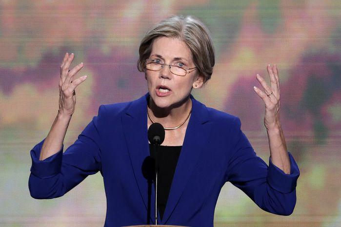 Elizabeth Warren, Massachusetts Senate candidate, addresses the Democratic National Convention in Charlotte, N.C., on Wednesday, Sept. 5, 2012. (Associated Press)