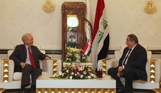 U.S. Sen. Joseph I. Lieberman (left) meets with Iraqi Foreign Minister Hoshyar Zebari in Baghdad on Tuesday, Sept. 4, 2012. (AP Photo/Karim Kadim)