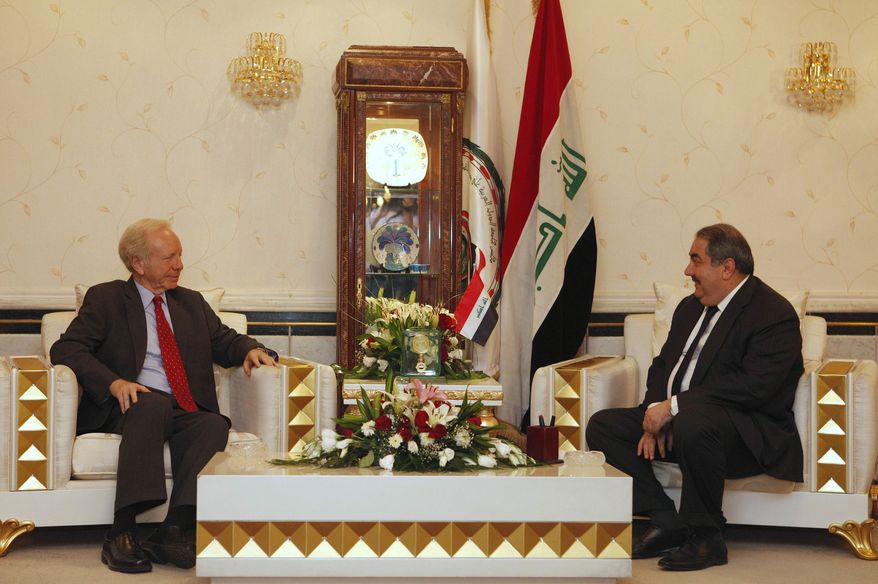 U.S. Sen. Joseph I. Lieberman (left) meets with Iraqi Foreign Minister Hoshyar Zebari in Baghdad on Tuesday, Sept. 4, 2012. (AP Photo/Karim Kadim)