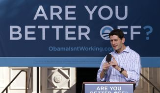 Rep. Paul Ryan, the Republican vice presidential candidate, speaks during a campaign event at the Dallas County Courthouse in Adel, Iowa, on Wednesday, Sept. 5, 2012. (AP Photo/Mary Altaffer)