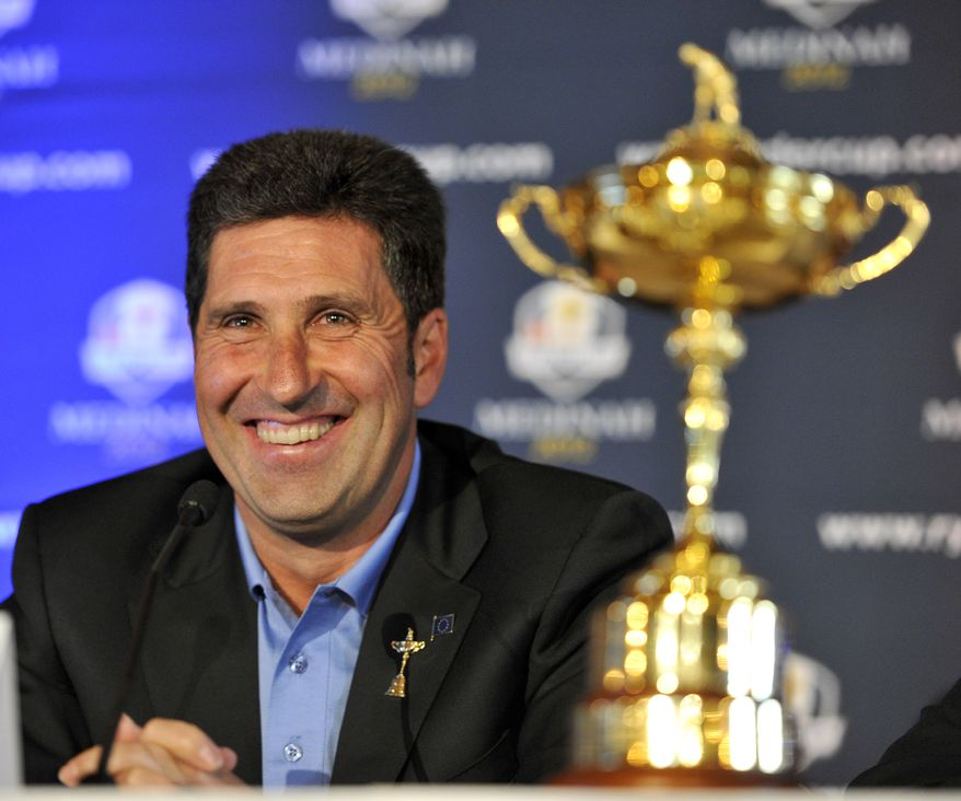 FILE - This Sept. 26, 2011 file photo shows 2012 European Ryder Cup Captain José María Olazábal laughing as he answers a question during a news conference at Medinah Country Club in Medinah, Ill. Hunter Mahan's absence from the United States Ryder Cup team surprised Olazabal. (AP Photo/Jim Prisching, File)