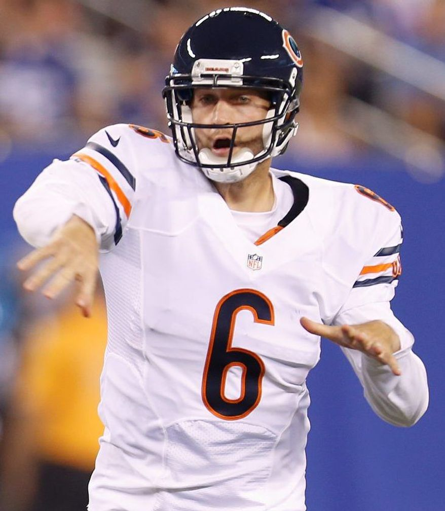 Chicago Bears quarterback Jay Cutler (6) passes the ball during the first half of an NFL preseason football game against the New York Giants Friday, Aug. 24, 2012, in East Rutherford, N.J. (AP Photo/Julio Cortez)
