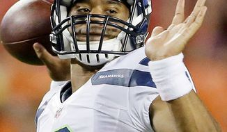 Seattle Seahawks quarterback Russell Wilson (3) during the second half of an NFL preseason football game against the Kansas City Chiefs Friday, Aug. 24, 2012, in Kansas City, Mo. (AP Photo/Charlie Riedel)