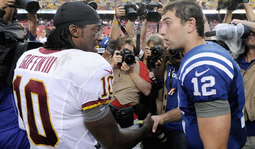 Preston Keres/Special to The Washington Times Washington quarterback Robert Griffin III and Indianapolis counterpart Andrew Luck always will be measured against each other after Luck and Griffin went 1-2 in the draft. Other rookie QBs who earned starting jobs are (botttom, left to right) Cleveland's Brandon Weeden, Seattle's Russell Wilson and Miami's Ryan Tannehill.