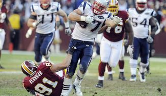 Redskins linebacker Ryan Kerrigan found the going rough against hulking New England tight end Rob Gronkowski last season at FedEx Field. Gronkowski rang up 160 yards and two touchdowns on six receptions. (Associated Press)