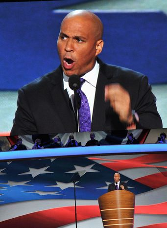 Newark, N.J., Mayor Cory A. Booker is said to be considering a race for New Jersey governor against the Republican incumbent next year. (Barbara Salisbury/ The Washington Times)
