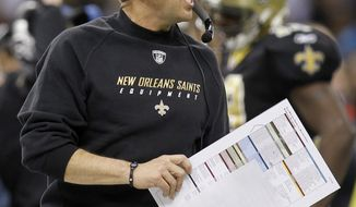 **FILE** New Orleans Saints head coach Sean Payton yells during the first half of the Saints' 45-28 wild-card playoff victory against the Detroit Lions in New Orleans on Jan. 7, 2012. (Associated Press)